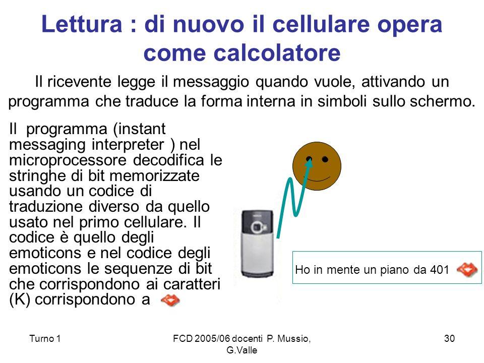 Lettura : di nuovo il cellulare opera come calcolatore