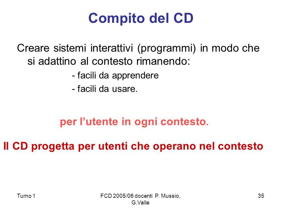 Il CD progetta per utenti che operano nel contesto