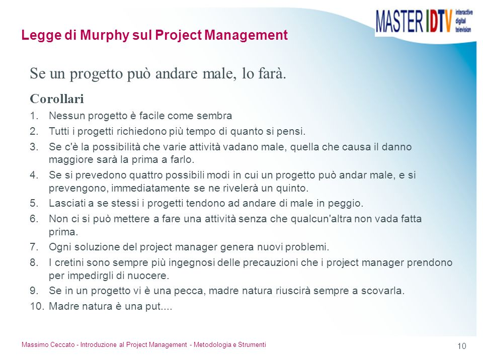 Legge di Murphy sul Project Management