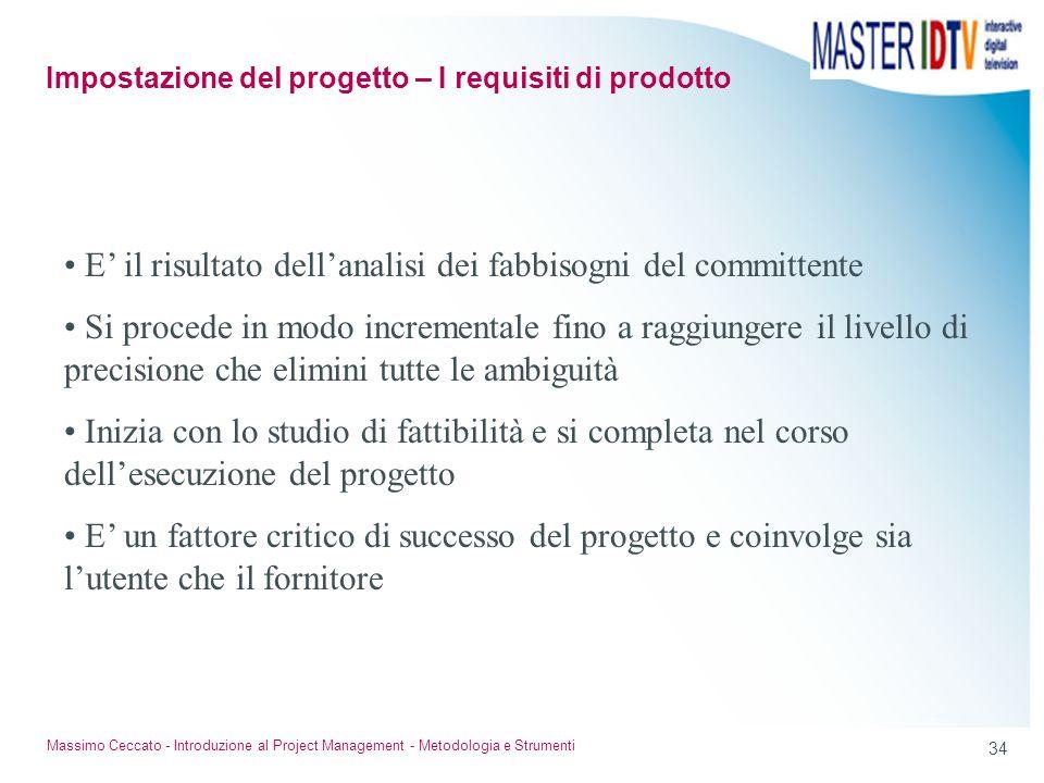 Impostazione del progetto – I requisiti di prodotto
