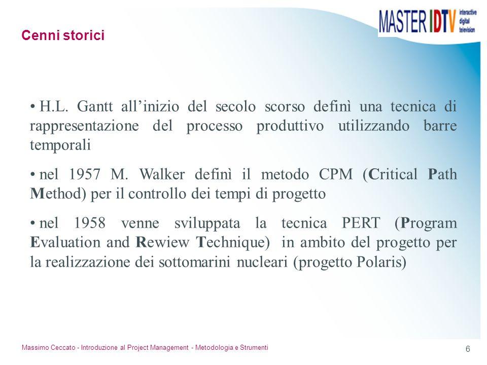 Cenni storici H.L. Gantt all'inizio del secolo scorso definì una tecnica di rappresentazione del processo produttivo utilizzando barre temporali.