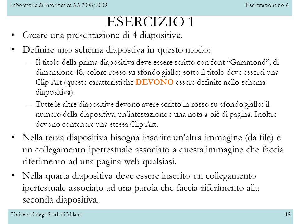 ESERCIZIO 1 Creare una presentazione di 4 diapositive.