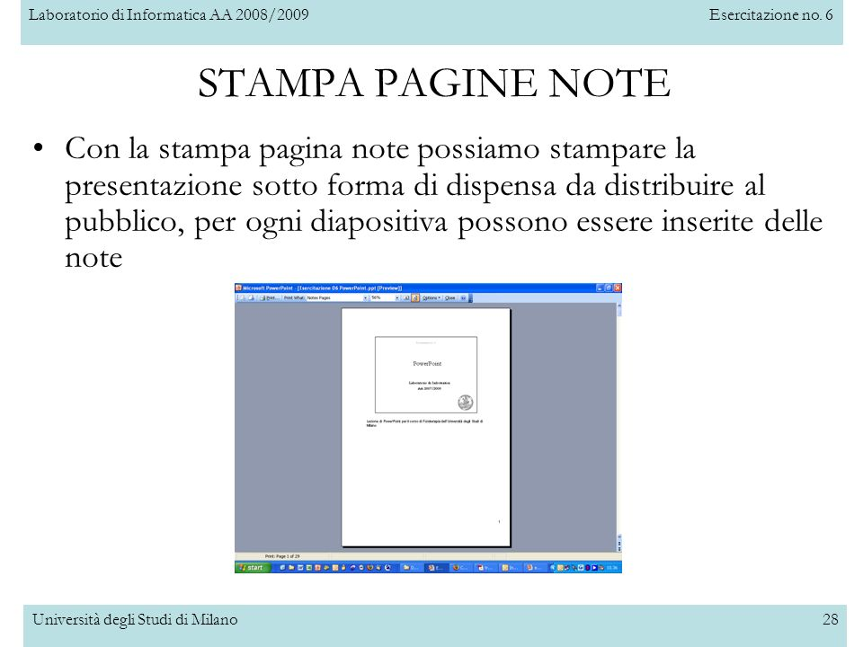 STAMPA PAGINE NOTE