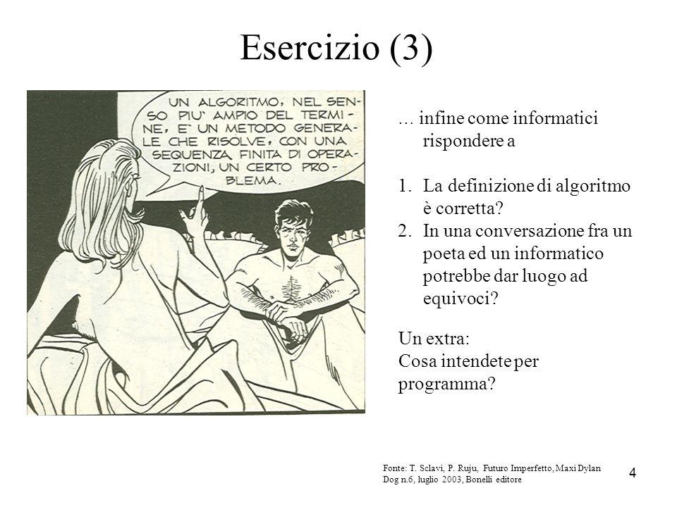 Esercizio (3) La definizione di algoritmo è corretta