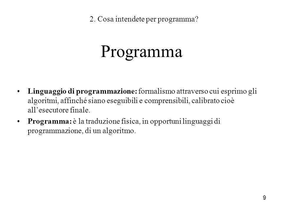 2. Cosa intendete per programma