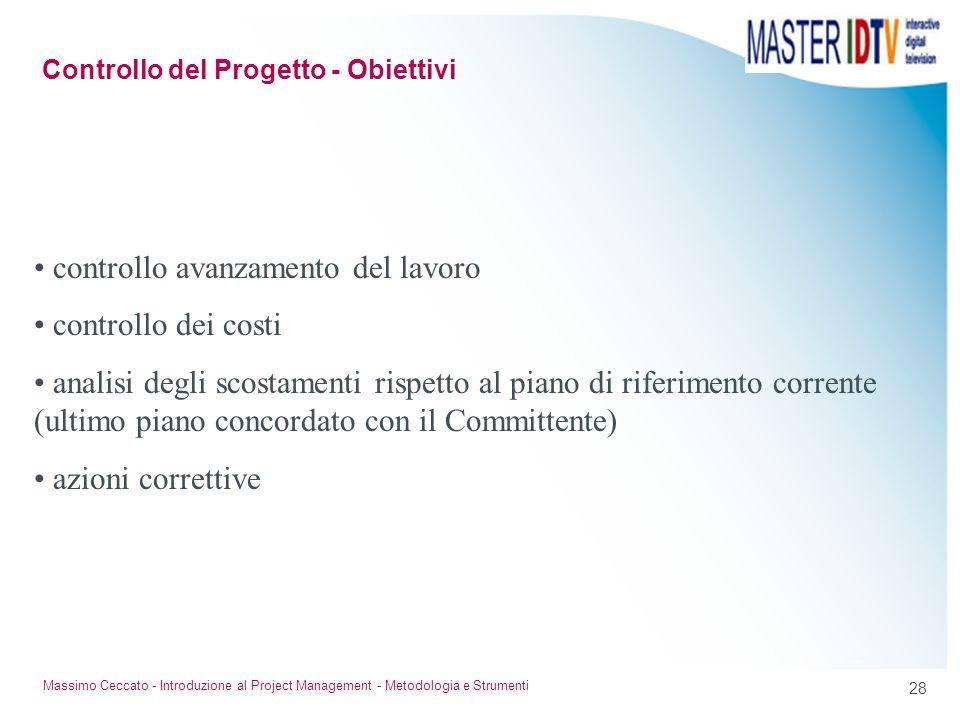 Controllo del Progetto - Obiettivi