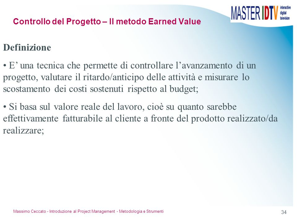 Controllo del Progetto – Il metodo Earned Value