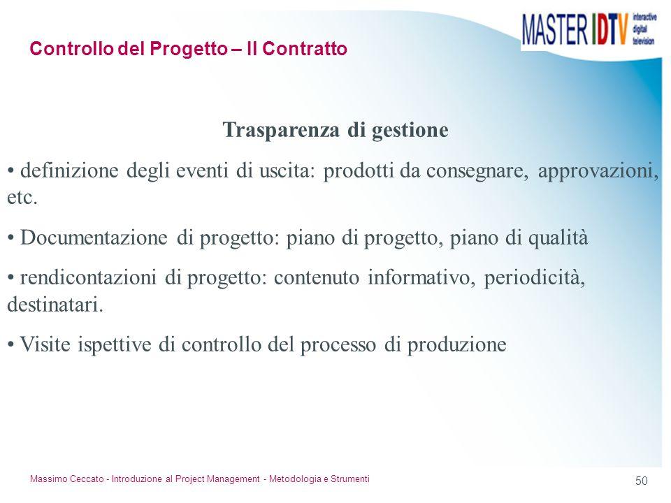 Controllo del Progetto – Il Contratto