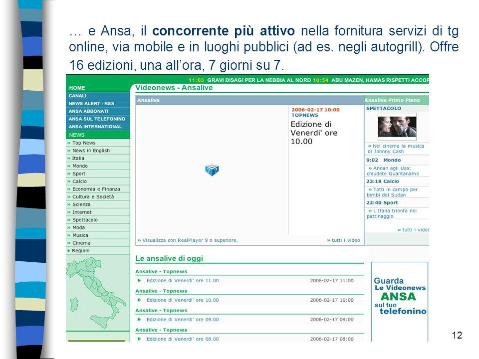 … e Ansa, il concorrente più attivo nella fornitura servizi di tg online, via mobile e in luoghi pubblici (ad es.