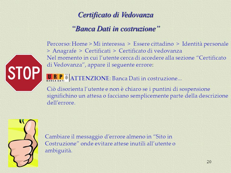 Certificato di Vedovanza Banca Dati in costruzione
