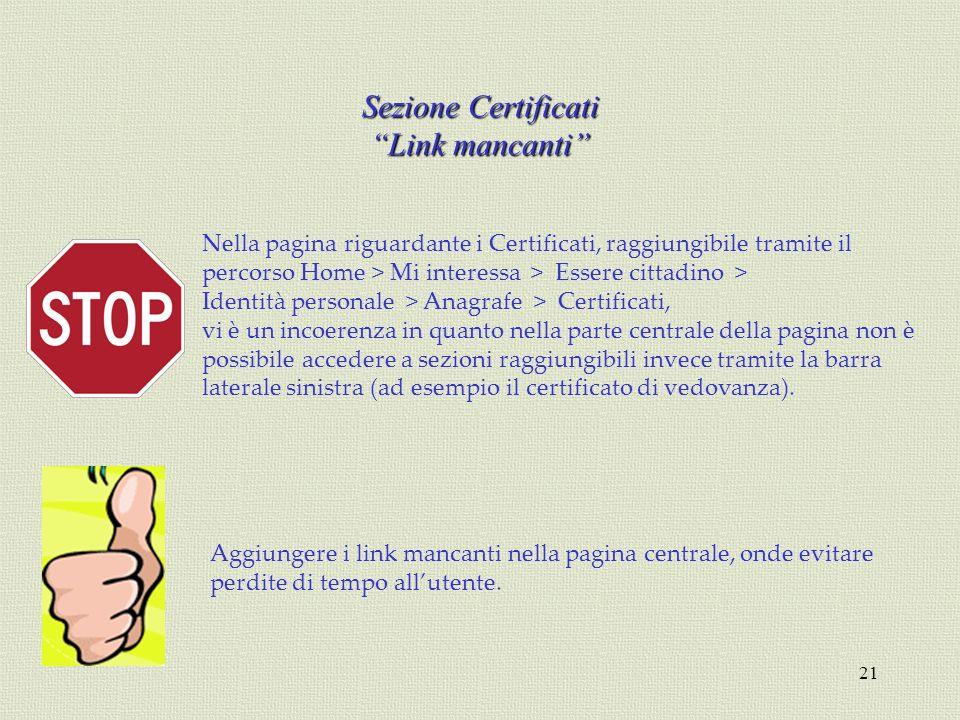 Sezione Certificati Link mancanti