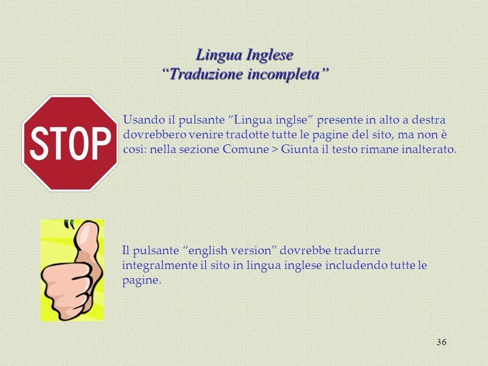 Lingua Inglese Traduzione incompleta