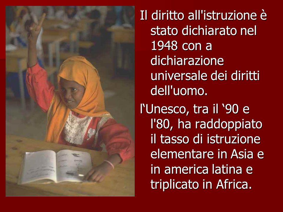 Il diritto all istruzione è stato dichiarato nel 1948 con a dichiarazione universale dei diritti dell uomo.