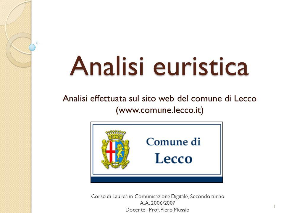 ca Analisi euristica. Analisi effettuata sul sito web del comune di Lecco (www.comune.lecco.it)