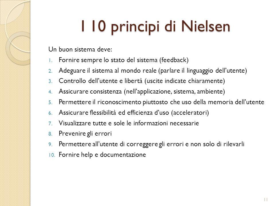 I 10 principi di Nielsen Un buon sistema deve: