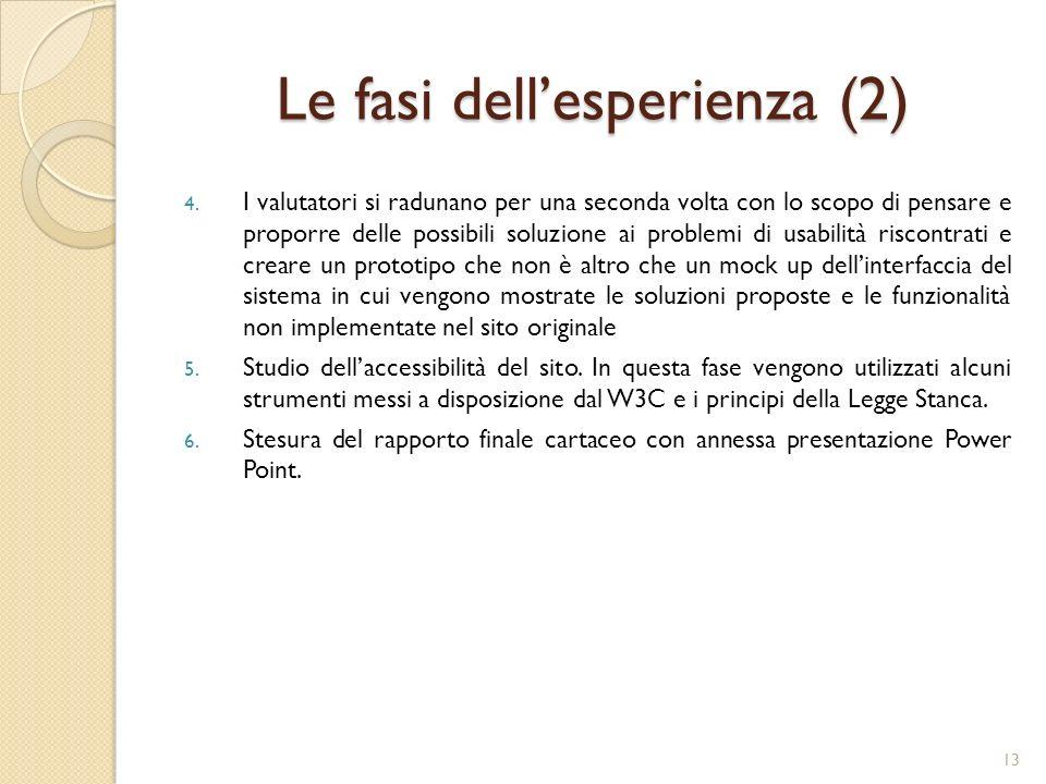 Le fasi dell'esperienza (2)