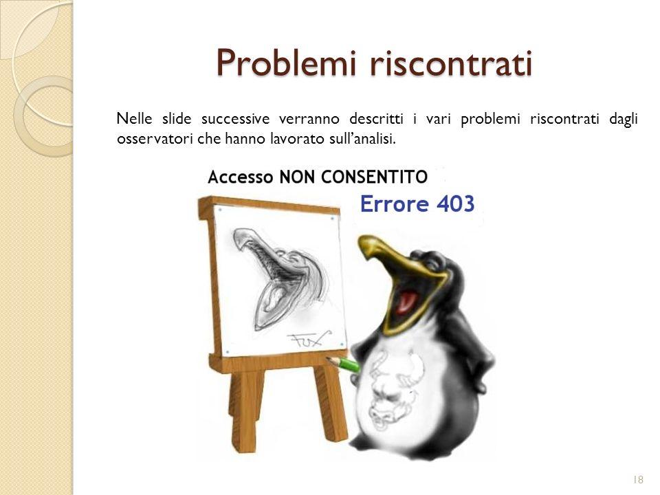 Problemi riscontrati Nelle slide successive verranno descritti i vari problemi riscontrati dagli osservatori che hanno lavorato sull'analisi.