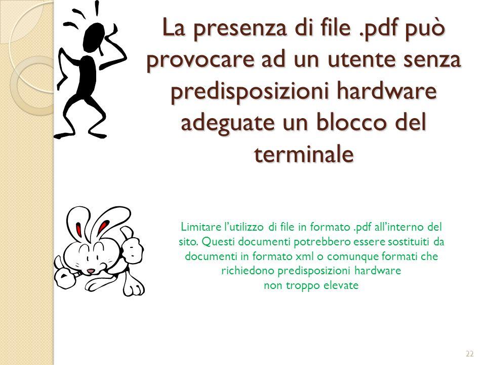 La presenza di file .pdf può provocare ad un utente senza predisposizioni hardware adeguate un blocco del terminale