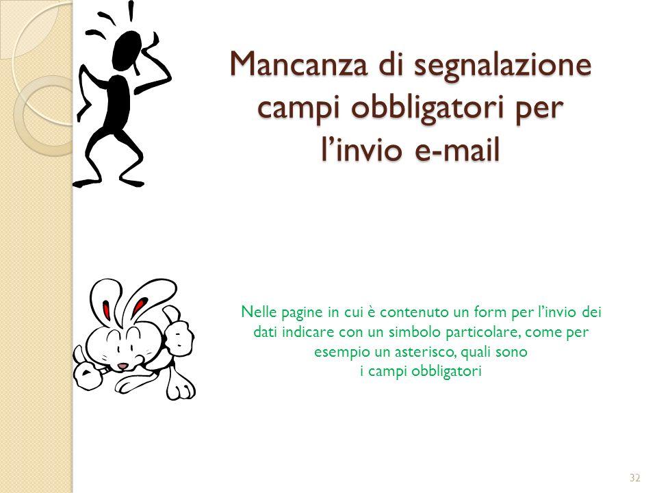 Mancanza di segnalazione campi obbligatori per l'invio e-mail