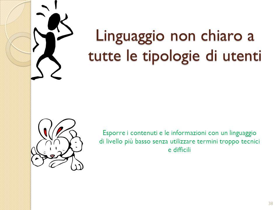 Linguaggio non chiaro a tutte le tipologie di utenti