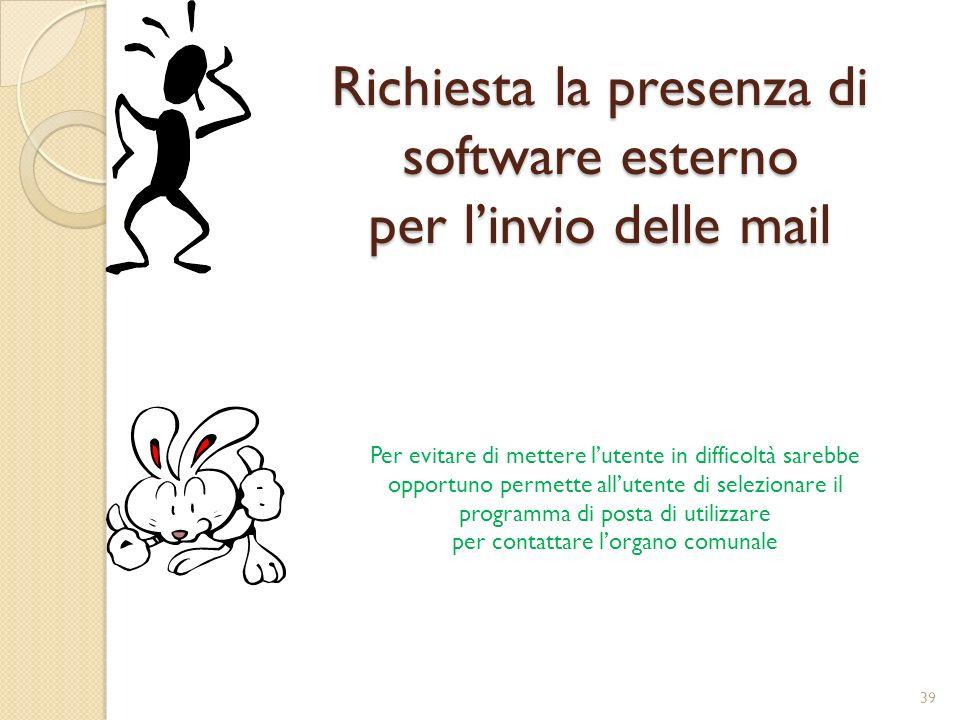 Richiesta la presenza di software esterno per l'invio delle mail