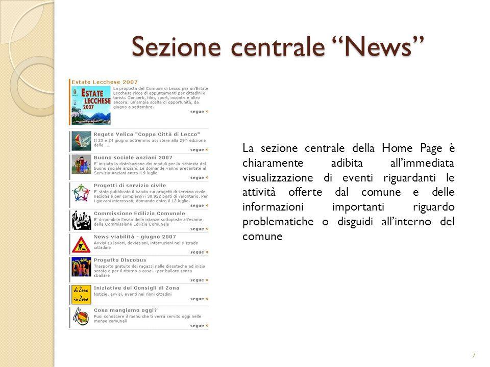 Sezione centrale News