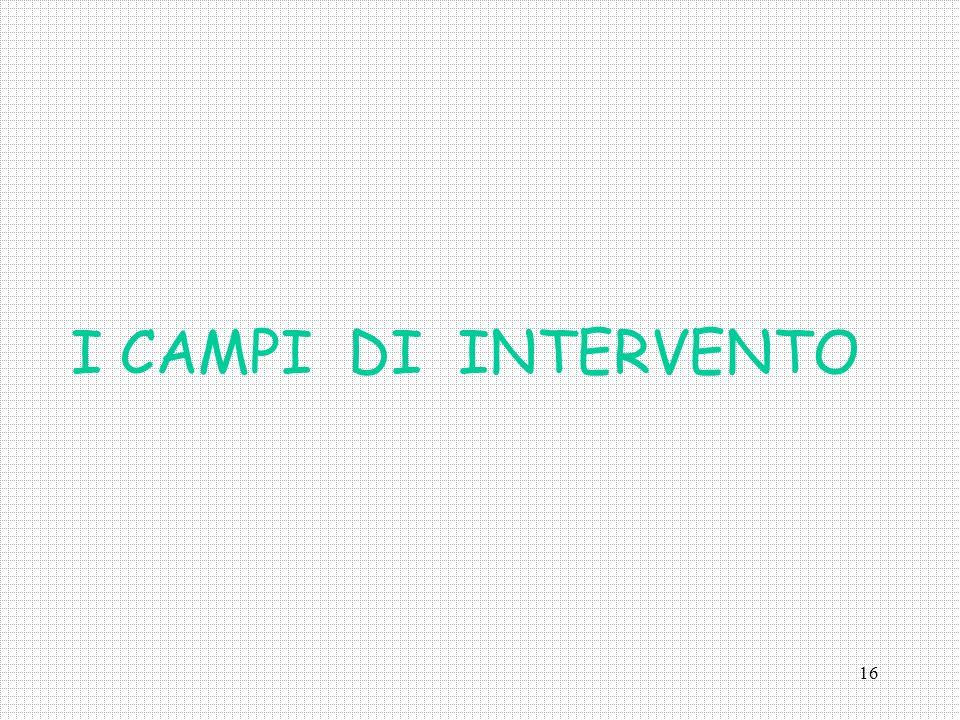 I CAMPI DI INTERVENTO