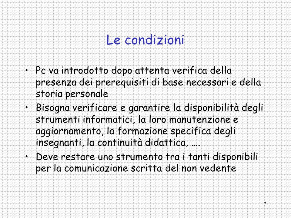 Le condizioni Pc va introdotto dopo attenta verifica della presenza dei prerequisiti di base necessari e della storia personale.