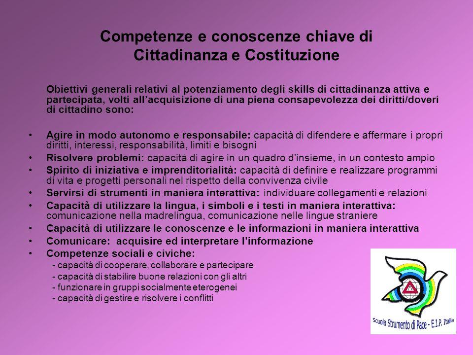 Competenze e conoscenze chiave di Cittadinanza e Costituzione