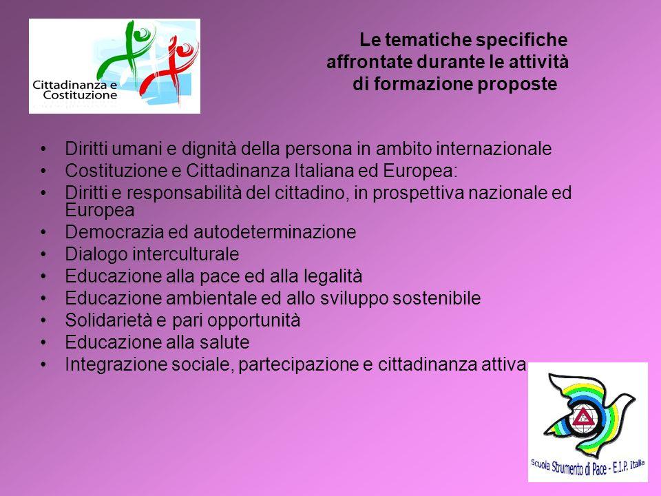Le tematiche specifiche affrontate durante le attività di formazione proposte