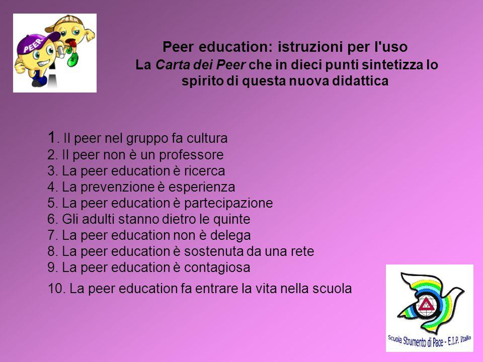 Peer education: istruzioni per l uso La Carta dei Peer che in dieci punti sintetizza lo spirito di questa nuova didattica