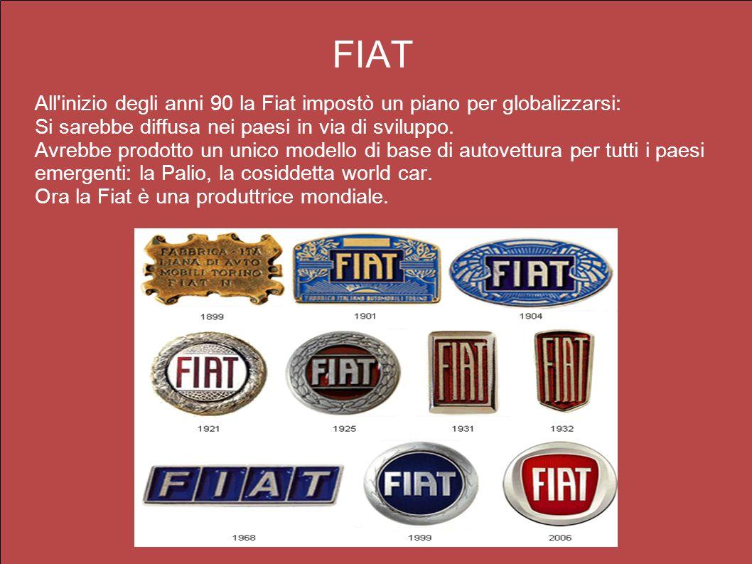 FIAT All inizio degli anni 90 la Fiat impostò un piano per globalizzarsi: Si sarebbe diffusa nei paesi in via di sviluppo.