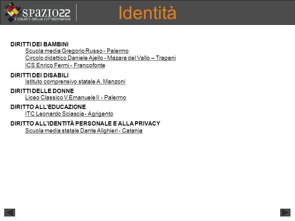 Identità DIRITTI DEI BAMBINI Scuola media Gregorio Russo - Palermo
