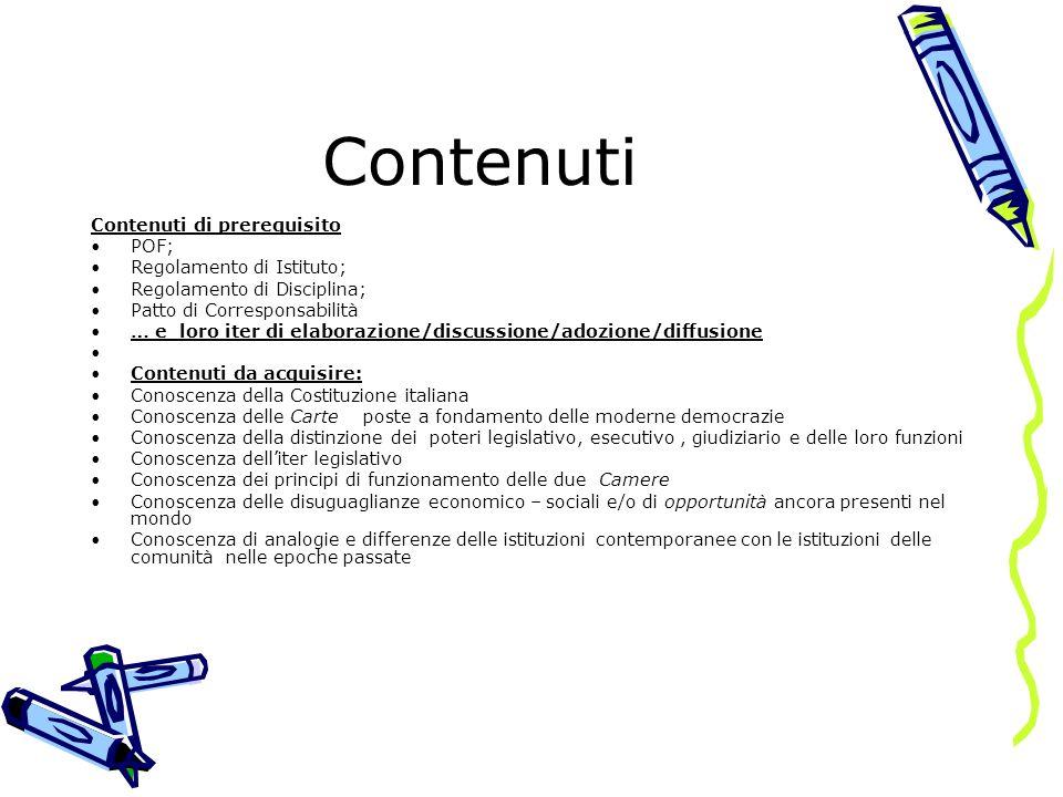 Contenuti Contenuti di prerequisito POF; Regolamento di Istituto;