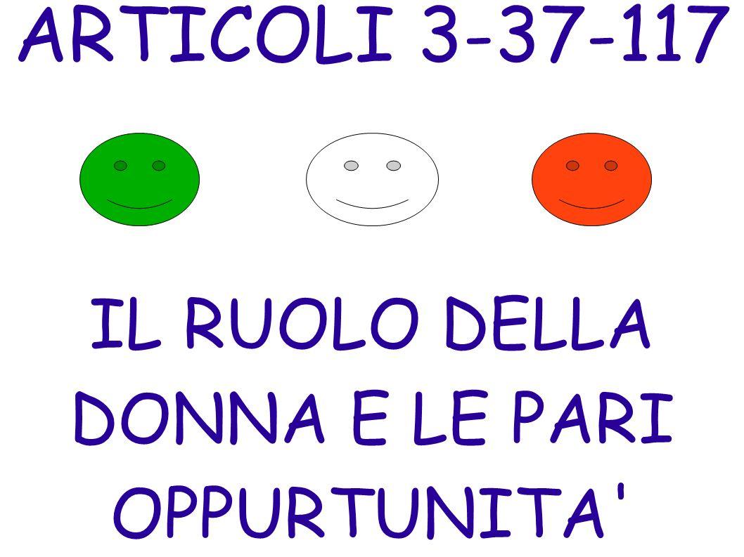 ARTICOLI 3-37-117 IL RUOLO DELLA DONNA E LE PARI OPPURTUNITA