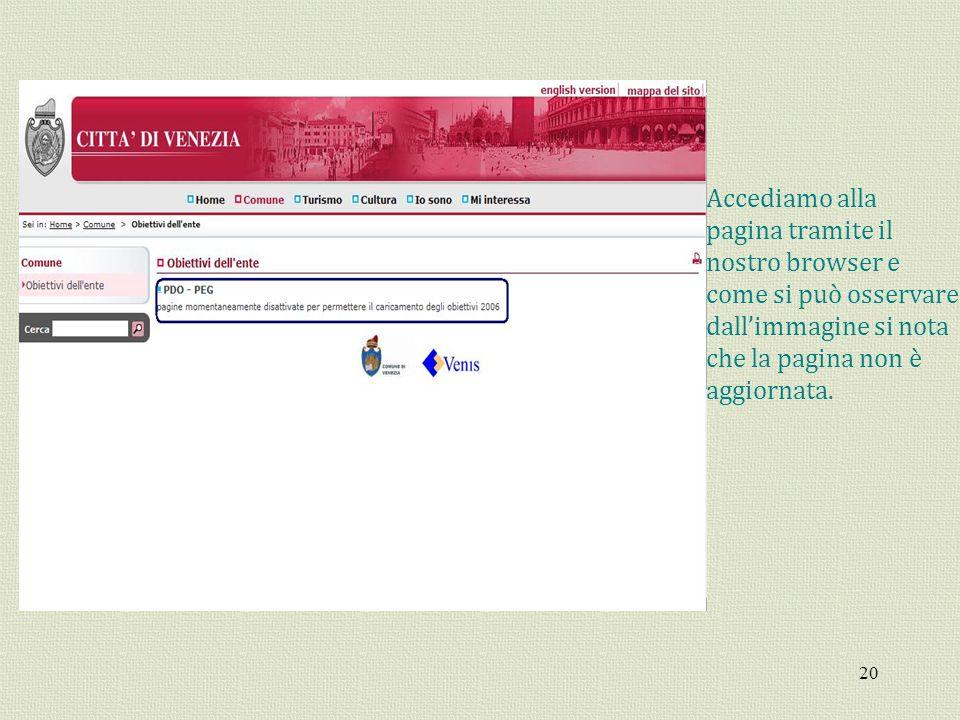 Accediamo alla pagina tramite il. nostro browser e. come si può osservare. dall'immagine si nota.