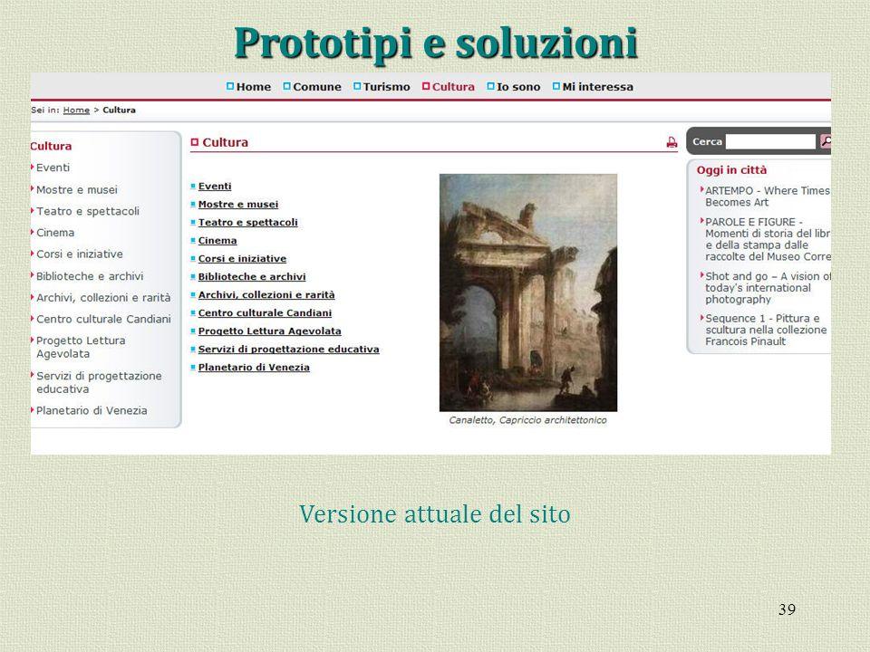 Versione attuale del sito
