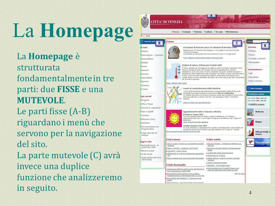 La Homepage La Homepage è strutturata fondamentalmente in tre parti: due FISSE e una MUTEVOLE.