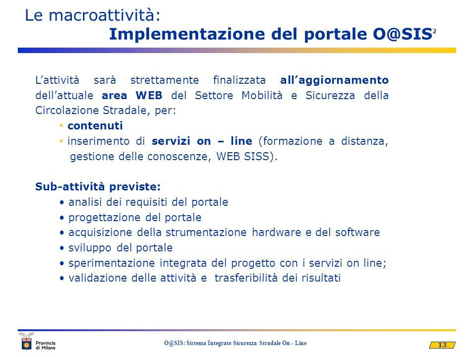 Le macroattività: Implementazione del portale O@SIS2