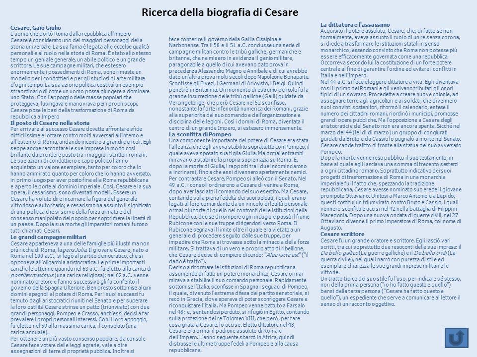 Ricerca della biografia di Cesare