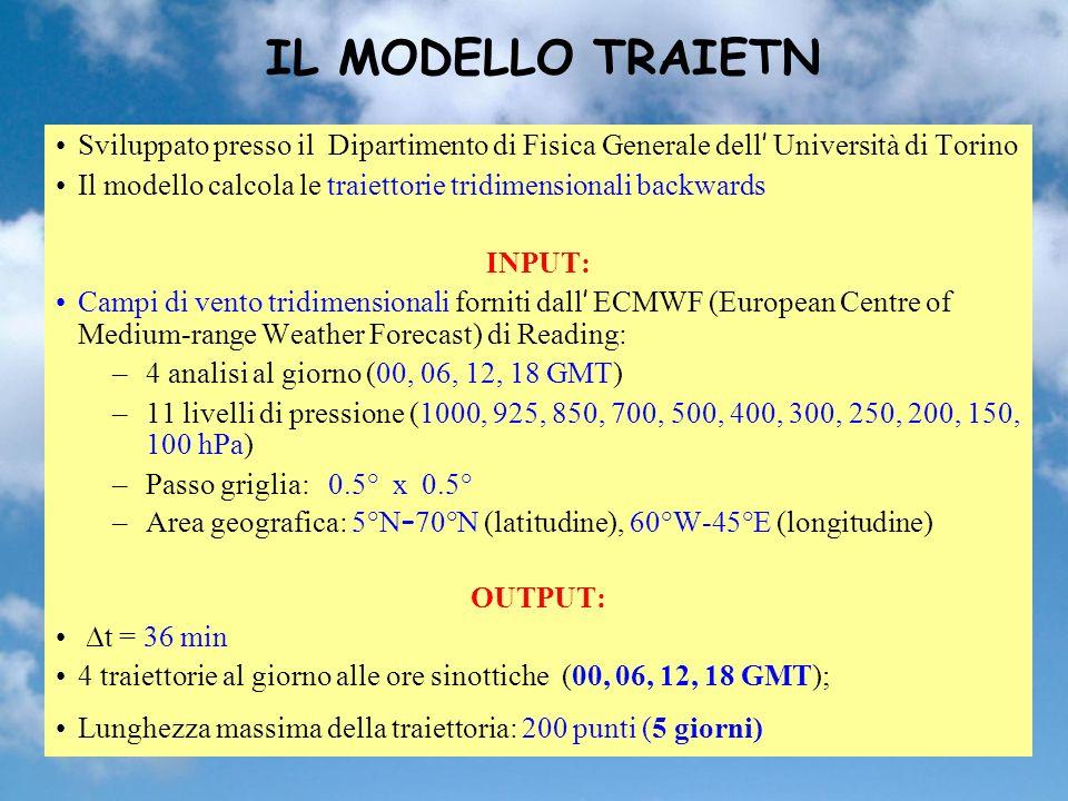 IL MODELLO TRAIETN Sviluppato presso il Dipartimento di Fisica Generale dell' Università di Torino.