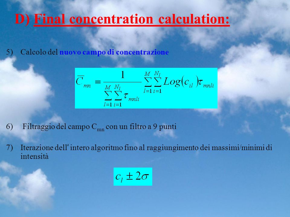 D) Final concentration calculation: