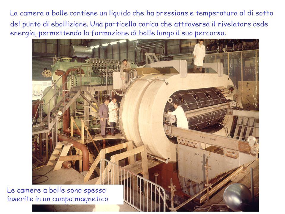 La camera a bolle contiene un liquido che ha pressione e temperatura al di sotto del punto di ebollizione. Una particella carica che attraversa il rivelatore cede energia, permettendo la formazione di bolle lungo il suo percorso.