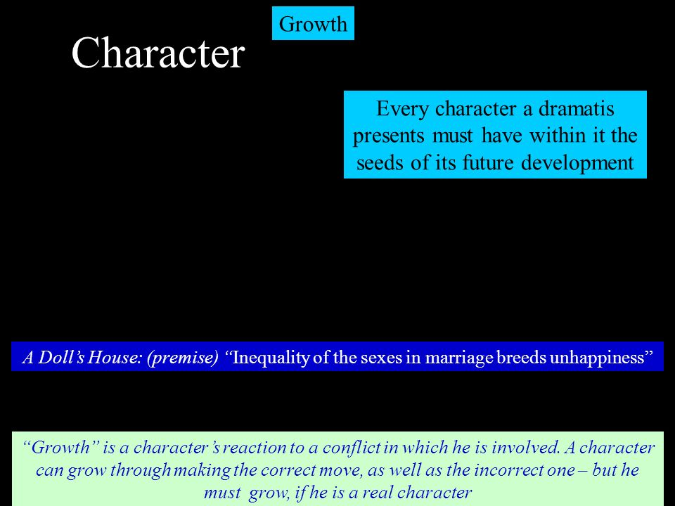 Character Growth. Every character a dramatis presents must have within it the seeds of its future development.