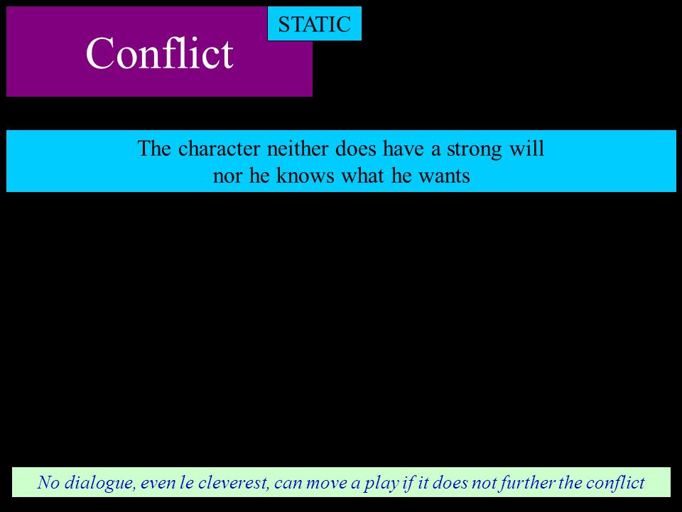Conflict STATIC The character neither does have a strong will