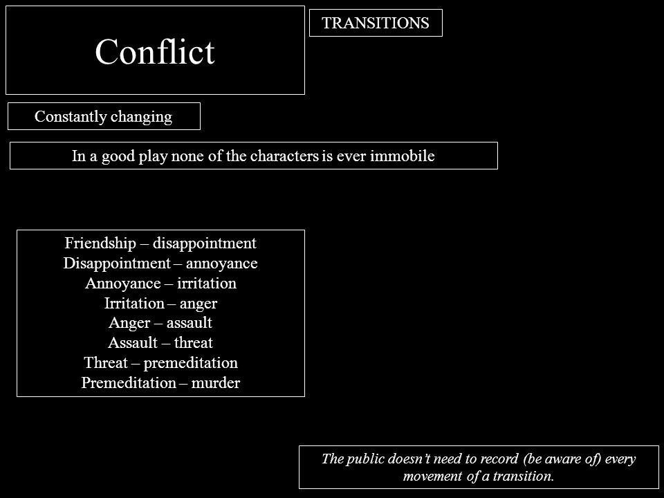 Conflict TRANSITIONS Constantly changing