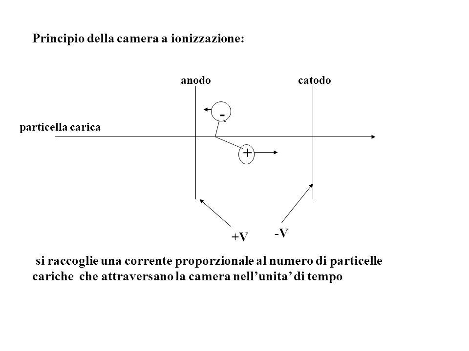 - + Principio della camera a ionizzazione: -V +V