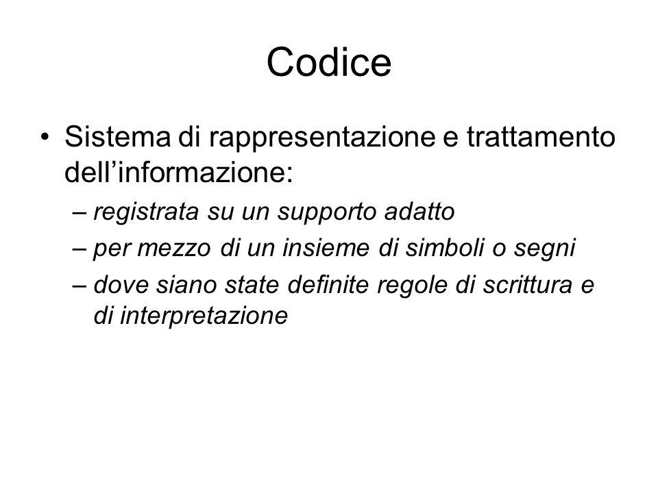 Codice Sistema di rappresentazione e trattamento dell'informazione: