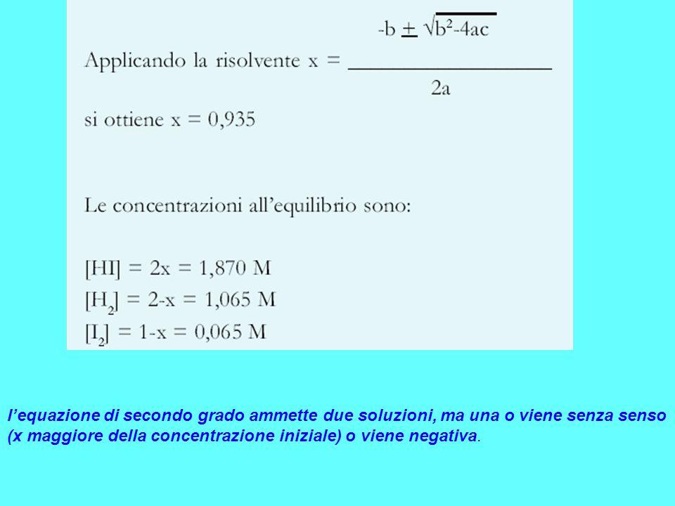l'equazione di secondo grado ammette due soluzioni, ma una o viene senza senso