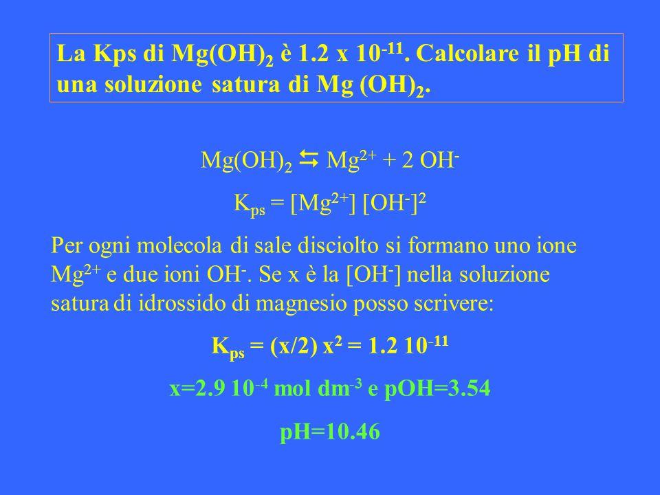 La Kps di Mg(OH)2 è 1.2 x 10-11. Calcolare il pH di una soluzione satura di Mg (OH)2.